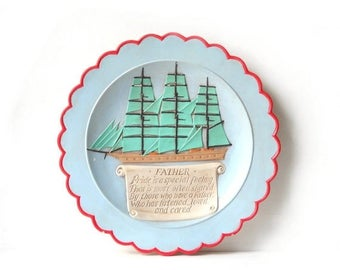 Fathers Day Plate, Vintage Ceramic Sailboat Plaque, Nautical Display