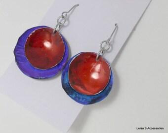 Blue Purple and Dark Red Disk Earrings AIE4
