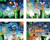 4 PRINT SET - Video Game Art - Super Mario Bros - Starry Night Giclee Gamer print by Aja 8x8 10x10 12x12 20x20 24x24 choose size