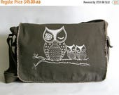 Mothers Day Sale Owl Messenger Bag, Hand Printed Cotton Canvas Messenger Bag,  Gift for Women, Computer Bag, Book Bag, School Bag,  Diaper B