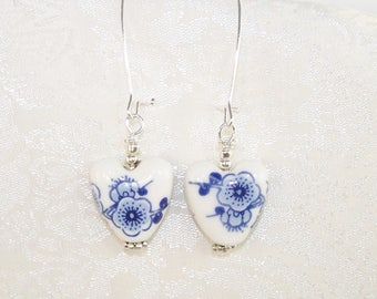 Porcelain Blue Flower Earrings