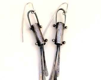 Abstract, oxidized, textured silver tube earrings with dangles