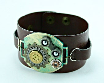 Steampunk Industrial Brown Leather Patinaed Brass and Watch Part Cuff 8 Inches