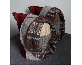 Fair Isle Upcycled Wool Hooded Cowls Small/Med