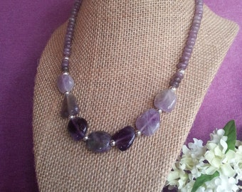 Amethyst and Lilac Stone Gems Necklace - Free Shipping