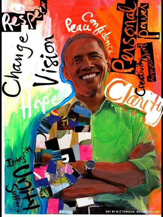 Obama Art. Large illustrated 15x11 Canvas print