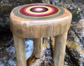 American Elm stool for a childs forest themed bedroom or a modern interior decor
