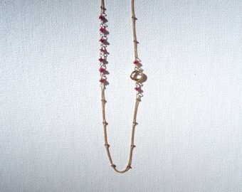 Gold Ruby Droplet Necklace