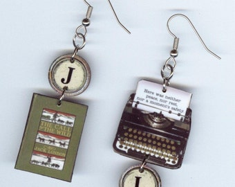 Book Cover Earrings - Call of the Wild Jack London Quote - typewriter jewelry - readers librarian book club students teachers gift