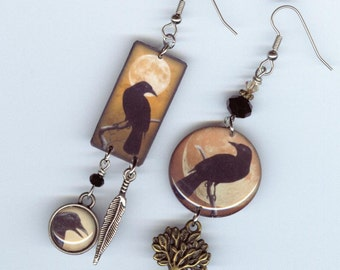 Full Crow Moon earrings - crows raven black bird tree feather -  Asymmetrical mismatched earring Designs by Annette