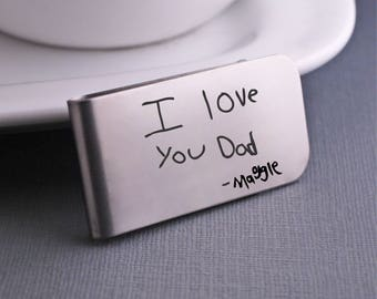 Custom Handwriting Money Clip, Father's Day Gift, Personalized Gift for Him, Custom Handwriting Gift for Husband