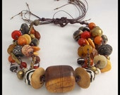 MAJESTIC AFRICA - Old Handcarved African Spindle Whorl - Mixed Handmade African Beads 5 Strand Handknotted Necklace