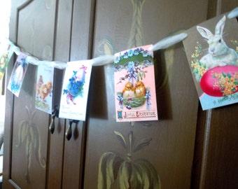 Easter banner, Easter garland, Vintage Easter garland, Easter bunting, pretty spring banner with tulle, Easter decoration,