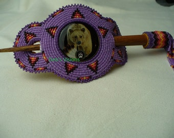 Native American Style Rosette beaded Bear Hair Stick Barrette in African Violet and Iris