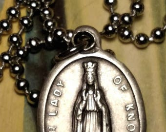 Our Lady of Knock Italy Religious Medal Pendant Necklace Silver Tone Long Steel Chain