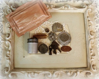 vintage and antique treasures in a deco style celluloid box with hinged lid tiny containers beaded applique pressed penny souvenir
