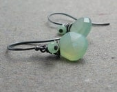 Light Green Chalcedony Earrings Oxidized Sterling Silver Petite Minimalist Mint Green Earrings