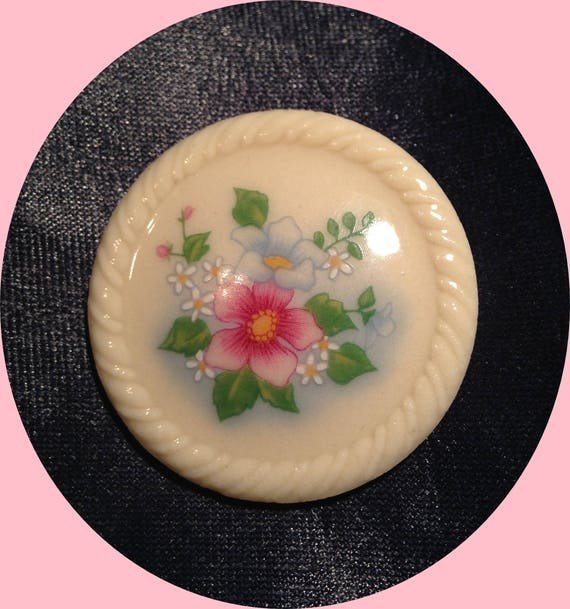 Brooch, Pin, Avon, White Circle, Pink, Blue, Yellow, Floral Garden