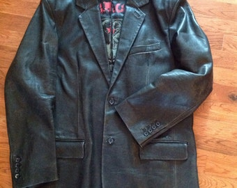 Black Leather Jacket / Juicy Couture/ Mens/ Size 44