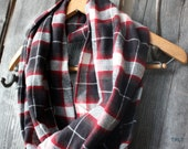 Red, Gray & Cream Plaid Flannel Infinity Scarf