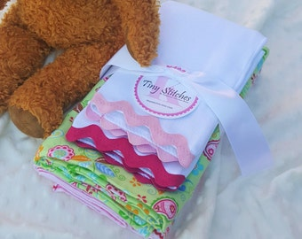 Baby Blanket Bundle, PAISLEY & STRIPES - 2 flannel blankets + 2 burp cloths, mint green pasiely, pink striped flannels, newborn baby girl