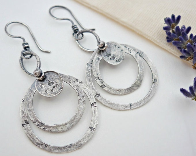 Sterling Silver Sacred Circles Hand-stamped Hoop Earrings