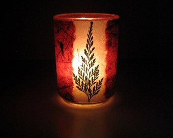 Evergreen Tree Earth Light - candle, candleholder, botanical, fern, pine tree, evergreen, cranberry, Winter candle, Winter, natural, ooak
