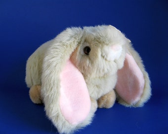 Vintage Easter Bunny Lop Eared Rabbit Stuffed Animal by Chosun Fluffy Gray Faux Fur Pink Ears Long Ears Pink Bow Girly Toy 1980s Toy Plush