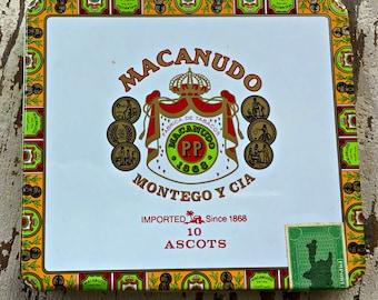 Cigar Tin, Metal, Cigar Box, Tobacco Tin, vintage, small cigar tin, Macanudo, Ascots, Montego Y Cia, Tobacciana, Collectible