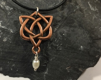 Copper, Sterling Silver, & Pearl Celtic Love Knot Leather Necklace Outlander Mother's Gift For Her Heart Valentine Infinity Eternity Irish