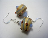 Lampwork Earrings Brown Blue Earrings Lampwork Swirl Earrings Swarovski Crystal Earrings Dangle Earrings Silver Plate Brown Jewelry Blue