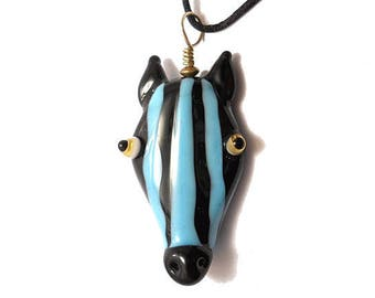 Aqua blue & black zebra mask glass bead pendant amulet, Lampwork necklace, animal talisman focal bead lamp work pendant, totem, glassbead