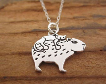 Sterling Cat and Capybara Necklace - Silver Silver Capybara Pendant