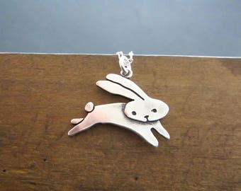 Sterling Jumping Rabbit Necklace - Cute Silver Rabbit Pendant