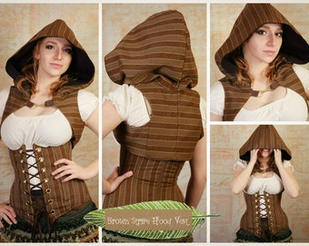 S - Brown Stripe Hooded Vest