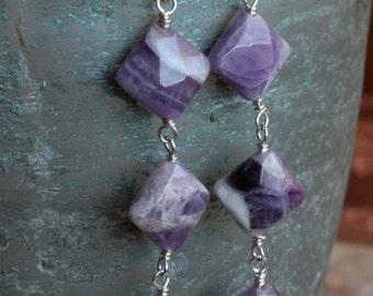 Diamond Shaped Amethyst Earrings, Sterling Silver Wire Wrapped Earrings, Long Dangle Earrings, Gemstone Earrings, Amethyst Silver Earrings