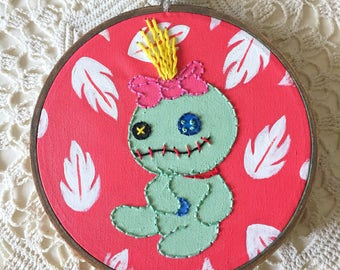 Embroidered Art Hoop - Lilo and Stitch Scrump