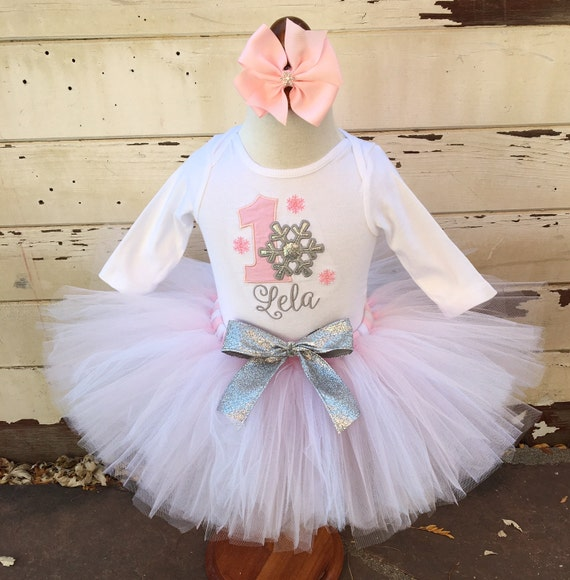 Pink u0026 Silver Winter Onederland 1st Birthday Tutu Outfit- Personalized Baby Girl by Cards and ...