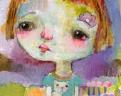 Hold you Close - mixed media art print by Mindy Lacefield