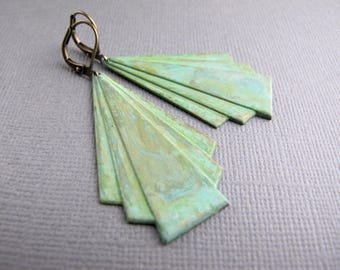 Patina Art Deco Earrings, Verdigris Brass Dangles, Geometric Jewelry, Gift for Her