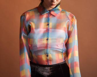 multicolored sheer organza blouse / plaid blouse / checkered top / s / m / 052t / B18
