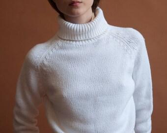 white cotton blend turtleneck sweater / raglan sleeve turtleneck / knit turtleneck / s / 2266t / B21