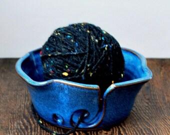 ON SALE Cobalt Blue Yarn Bowl for Crochet or Knitting Wheel Thrown Gift for Her
