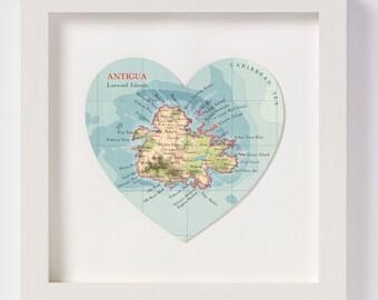 Antigua Map Heart Print - framed