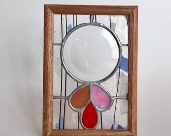 5x7 framed stained glass round bevel with petals panel by glass action