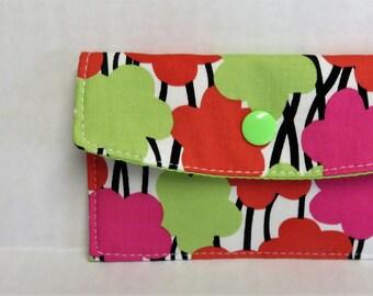 Mini Wallet - Gift Card Holder - Debit Credit Card Case -  Business Card Case  - Snap Closure - Multi Color Mod Flowers Fabric