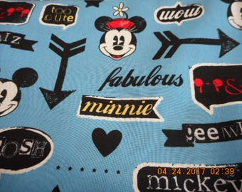 MadieBs Mickey and Minnie  Cotton Fabric Fitted Crib or Toddler Bed Sheet