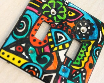 LAUGH IN artsy hand painted double switchplate
