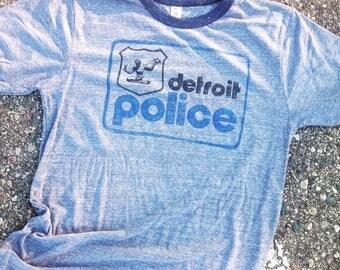 Detroit Police - grey ringer mens T shirt