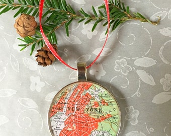 New York Map Ornament  50mm  Handcrafted for Holiday or Housewarming Gift for Travelers or Hometown Adventures Tree Trimmer